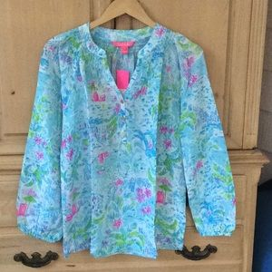 NWT Lilly Pulitzer Elsa Top What a Lovely Place-M